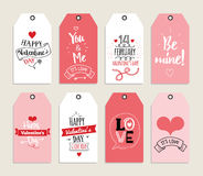Valentines day gift cards, labels, and stickers. Template for Greeting Scrapbooking, Congratulations, Invitations stock illustration