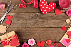 Valentines Day gift concept frame against rustic wood Royalty Free Stock Photography