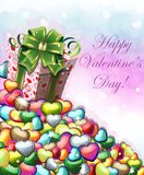 Valentines day gift with green bow Stock Photos