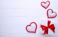 Valentines Day gift with hearts on white background stock images