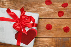 Valentines Day gift and hearts  on wooden Stock Images