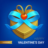 Valentines day gift. Valentines day illustration. Gift box with blue bow ribbon. Vector Royalty Free Stock Photo