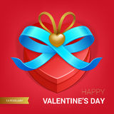 Valentines day gift. Valentines day illustration. Gift box with blue bow ribbon. Vector Royalty Free Stock Image