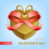 Valentines day gift. Valentines day illustration. Gift box with red bow ribbon. Vector Royalty Free Stock Photography