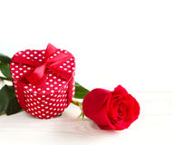 Valentines day gift and rose Stock Image