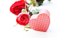 Valentines Day gift in silver box and greeting card isolated on white Stock Photos