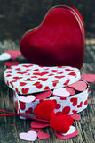 Valentines Day gift and small hearts Royalty Free Stock Images