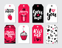 Valentines day gift tag vector set. Collection of hand drawn printable card templates. With lettering, texture and love quotes. Modern style black, white and Stock Photography