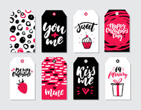 Valentines day gift tag vector set. Collection of hand drawn printable card templates with lettering Royalty Free Stock Photo