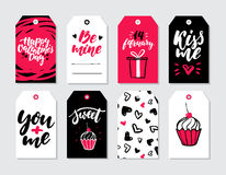 Valentines day gift tag vector set. Collection of hand drawn printable card templates with lettering. Texture and love quotes. Modern style black, white and Stock Photos