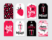 Valentines day gift tag vector set. Collection of hand drawn printable card templates. With lettering, texture and love quotes. Modern style black, white and Royalty Free Stock Photos