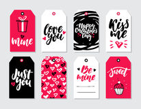 Valentines day gift tag vector set. Collection of hand drawn printable card templates with lettering. Texture and love quotes. Modern style black, white and Stock Images