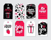 Valentines day gift tag vector set. Collection of hand drawn printable card templates with lettering. Texture and love quotes. Modern style black, white and Royalty Free Stock Photography