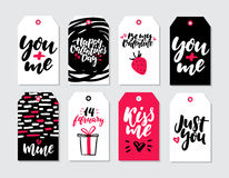 Valentines day gift tag vector set. Collection of hand drawn printable card templates with lettering. Texture and love quotes. Modern style black, white and Royalty Free Stock Photos