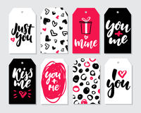 Valentines day gift tag vector set. Coolection of hand drawn pri Stock Photos