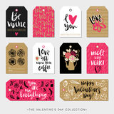 Valentines Day Gift Tags And Cards. Calligraphy Hand Drawn Design. Stock Photos