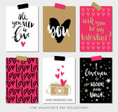 Valentines day gift tags and cards with calligraphy. Royalty Free Stock Image