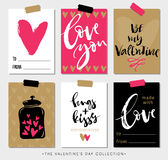 Valentines day gift tags and cards with calligraphy. Royalty Free Stock Photo