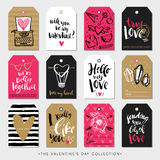 Valentines day gift tags and cards. Calligraphy hand drawn design. Royalty Free Stock Photos