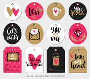 Valentines day gift tags, cards and stickers with calligraphy. Royalty Free Stock Photo
