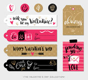 Valentines day gift tags, cards and stickers with calligraphy. Royalty Free Stock Image
