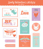 Valentines day gift tags, stickers and labels Royalty Free Stock Photos