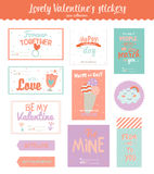 Valentines day gift tags, stickers and labels Royalty Free Stock Photography