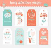 Valentines day gift tags, stickers and labels. Collection of 6 Valentines day gift tags, stickers and labels templates. Romantic and beauty posters set. Lovely Royalty Free Stock Image