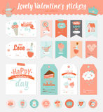 Valentines day gift tags, stickers and labels. Collection of Valentines day gift tags, stickers and labels templates. Romantic and beauty posters set. Lovely Royalty Free Stock Photography