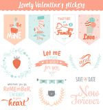 Valentines day gift tags, stickers and labels. Collection of Valentines day gift tags, stickers and labels templates. Romantic and beauty posters set. Lovely Royalty Free Stock Images