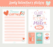 Valentines day gift tags, stickers and labels Stock Photography