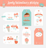 Valentines day gift tags, stickers and labels. Collection of 6 Valentines day gift tags, stickers and labels templates. Romantic and beauty posters set. Lovely Stock Photos