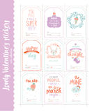 Valentines day gift tags, stickers and labels. Collection of Valentines day gift tags, stickers and labels templates. Romantic and beauty posters set. Lovely Stock Image