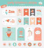 Valentines day gift tags, stickers and labels. Collection of Valentines day gift tags, stickers and labels templates. Romantic and beauty posters set. Lovely Royalty Free Stock Photos
