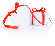 Valentines Day gift in white box and heart Stock Images