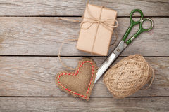 Valentines day gift wrapping Stock Photos