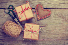 Valentines day gift wrapping Royalty Free Stock Photo