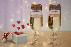 Valentines day gifts and champagne. Stock Photography
