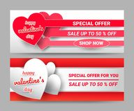 Valentines day gifts, 50% discounted price tag with red and white letters and hearts Put on a red background royalty free illustration