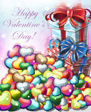 Valentines day gifts with hearts Royalty Free Stock Photography