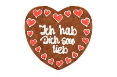Valentines day Gingerbread heart with white isolated background Royalty Free Stock Photos