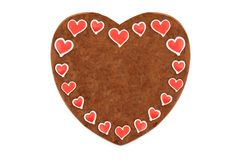 Valentines day Gingerbread heart with copy space at white isolat Stock Image