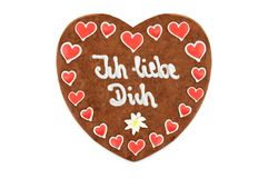 Valentines day Gingerbread heart german words ich liebe dich en Stock Images