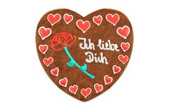 Valentines day Gingerbread heart german words ich liebe dich en Stock Image