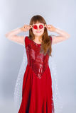Valentines day girl. Beautiful child girl  holding a lollipop in the shape of a red heart valentines day Stock Photography