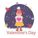 Valentines Day. Girl with Heart Royalty Free Stock Photo