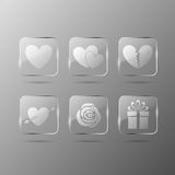 Valentines day glass icons vector illustration