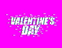 Valentines day glitch effect. lovers Day. emblem for Holiday Feb. Ruary 14 Stock Illustration