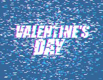 Valentines day glitch effect. lovers Day. emblem for Holiday Feb. Ruary 14 Vector Illustration