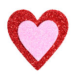 Valentines Day. Glitter Red and Pink Hearts isolated on white Royalty Free Stock Image